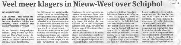 Veel meer klagers in Nieuw-West over Schiphol