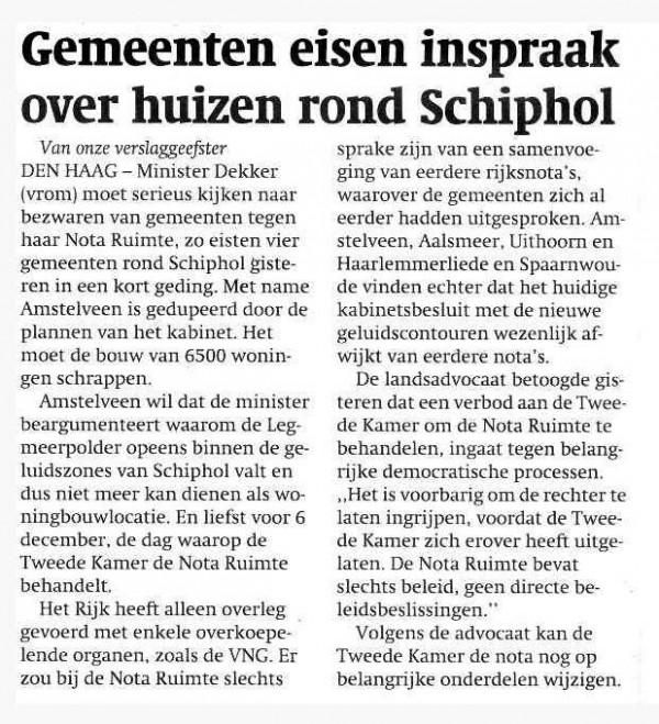 Gemeenten eisen inspraak over huizen rond Schiphol