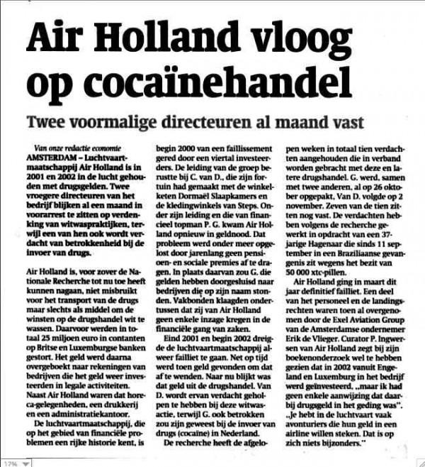 Air Holland vloog op cocaïnehandel