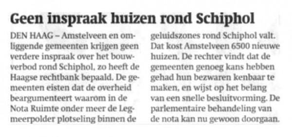 Geen inspraak huizen rond Schiphol