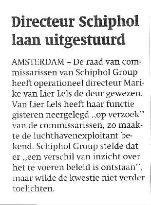 Directeur Schiphol laan uitgestuurd