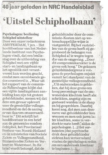 40jaar geleden: Uitstel Schipholbaan