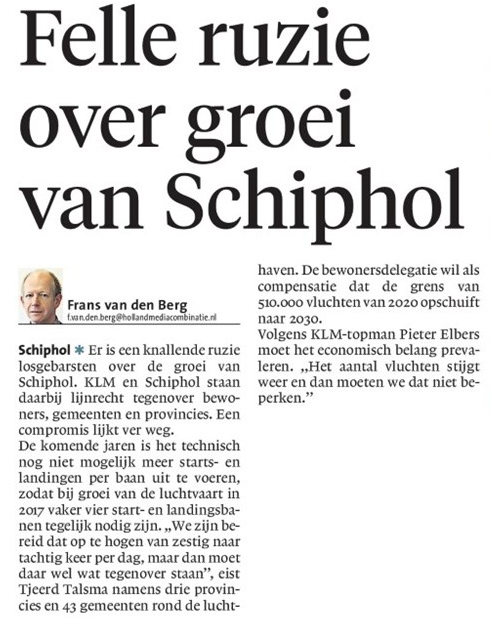 Knallende ruzie om groei van Schiphol