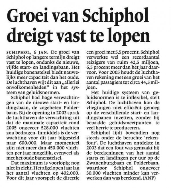 Groei van Schiphol dreigt vast te lopen