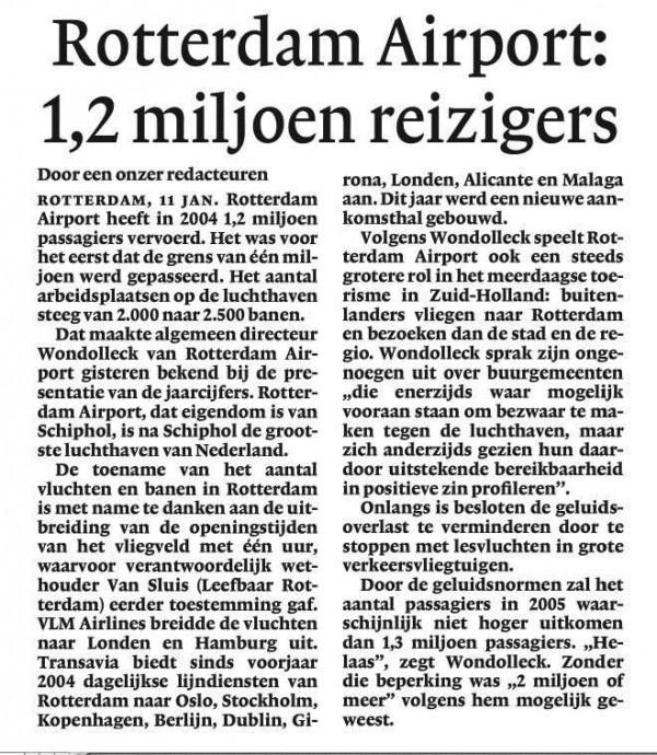 Rotterdam Airport: 1,2 miljoen reizigers
