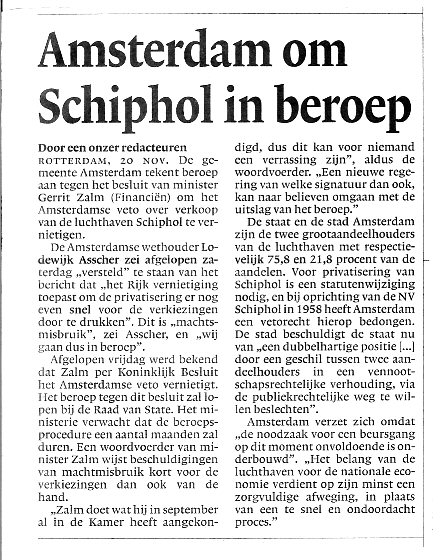 Amsterdam om Schiphol in beroep