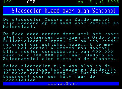 Stadsdelen A'dam kwaad over plan Schiphol