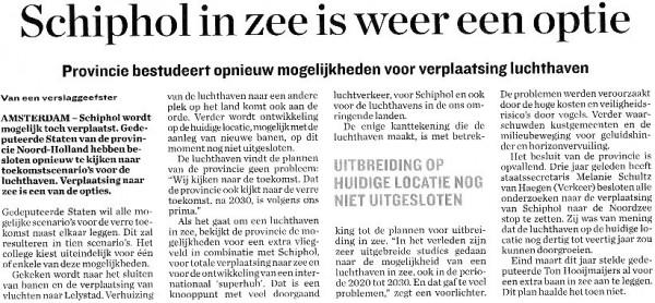 Schiphol in zee is weer een optie