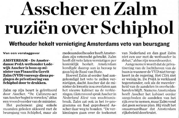 Asscher en Zalm ruzien over Schiphol