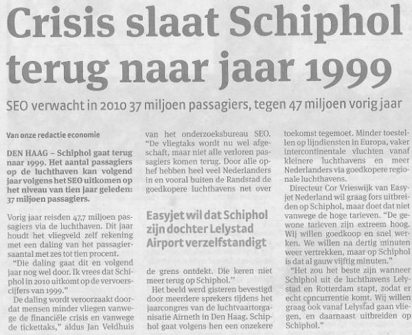 Crisis slaat Schiphol terug naar jaar 1999