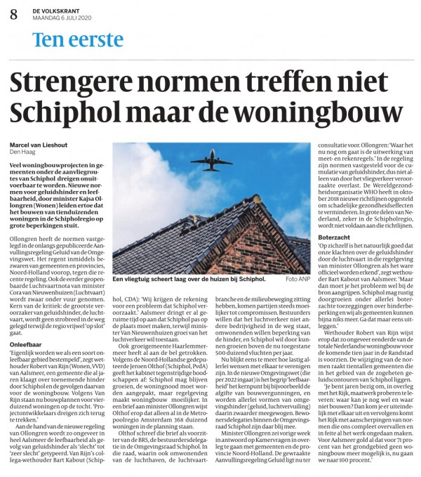 Strengere normen treffen niet Schiphol maar de woningbouw